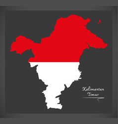 kalimantan timur indonesia map with indonesian vector image vector image