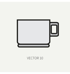 Line flat color kitchenware icons - cup vector image
