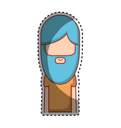 man with beard and hairstyle icon vector image