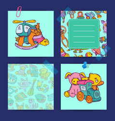 notes set with children toys vector image vector image