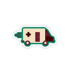 Paper sticker on white background ambulance car vector
