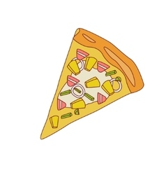 Pizza slice with pineapple and bacon vector