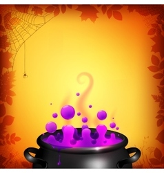 Purple potion in black cauldron on orange vector image vector image