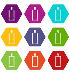 Scent bottle icon set color hexahedron vector