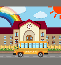 School scene with building and bus vector