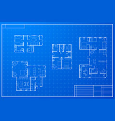 set of different blueprint house plans vector image