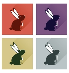 Set of flat icons with long shadow rabbit carrot vector
