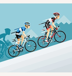 The group of cyclists man in road bicycle racing vector