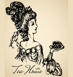 Vintage lady for cafe or restaraunt vector
