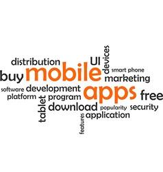 Word cloud mobile apps vector