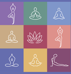 Yoga icons color vector