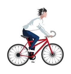 Man riding bike with headphones icon vector