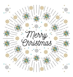 Merry christmas lettering and elegant frame line vector