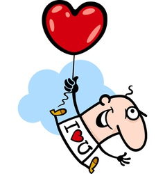 Man wit valentine hearth balloon cartoon vector