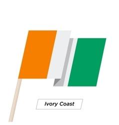 Ivory coast sharp ribbon waving flag isolated on vector