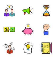 Treasure icons set cartoon style vector