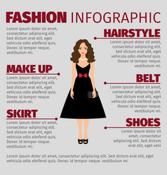 Girl in black dress fashion infographic vector