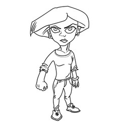 Cartoon image of determined woman clenching fist vector