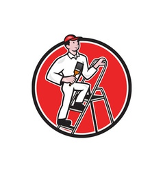 House painter paintbrush on ladder cartoon vector