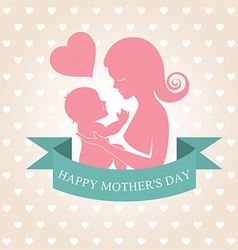 Mother carrying her child on heart background vector