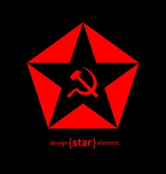 Red star with socialist symbols on black vector