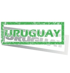Green outlined uruguay stamp vector