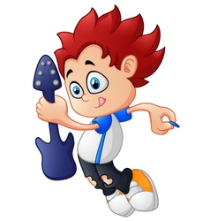 Cartoon boy playing guitar vector