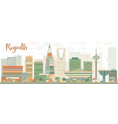 Abstract riyadh skyline with color buildings vector