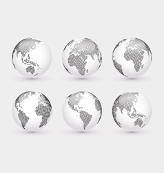 Set of abstract dotted globes vector