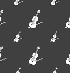 Violin icon sign seamless pattern on a gray vector