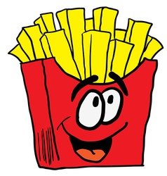 Happy french fries vector