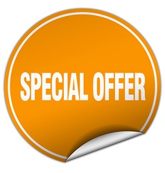 Special offer round orange sticker isolated on vector