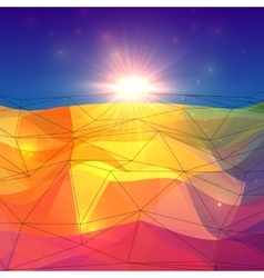 Abstract triangles polygonal surface with sunlight vector