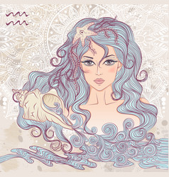 Aquarius as a portrait of beautiful girl vector image