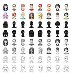 Avatar set icons in cartoon style big collection vector