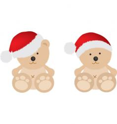 Christmas teddy bears vector image