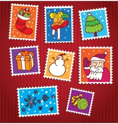 collection of christmas stamps vector image vector image