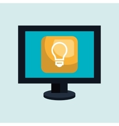 Computer desktop with bulb isolated icon design vector