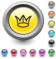 Crown round button vector image