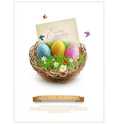 easter eggs in a wicker nest green grass and vector image vector image