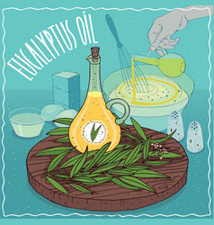 Eucalyptus oil used for cooking vector