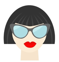 Fashion brunet woman face with sexy red lips vector image vector image