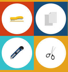 flat icon equipment set of knife sheets clippers vector image vector image