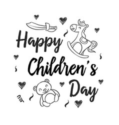 Hand draw collection childrens day style vector