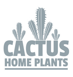 Home cactus plants logo simple gray style vector