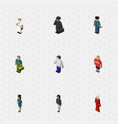 Isometric human set of male female seaman and vector