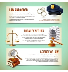 Law horizontal banners vector image vector image