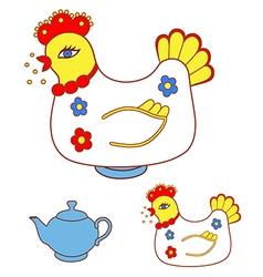 Magic chicken warmer for teapot vector