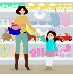 Mother and daughter in children shop vector