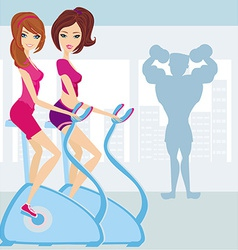 People exercise in the gym vector